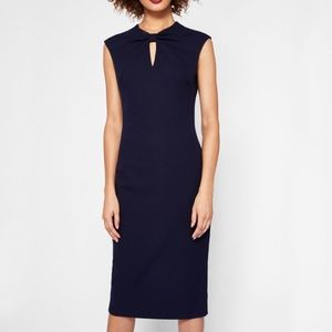 Ted Baker Kezzia Bow Neck Blue Body-Con Dress